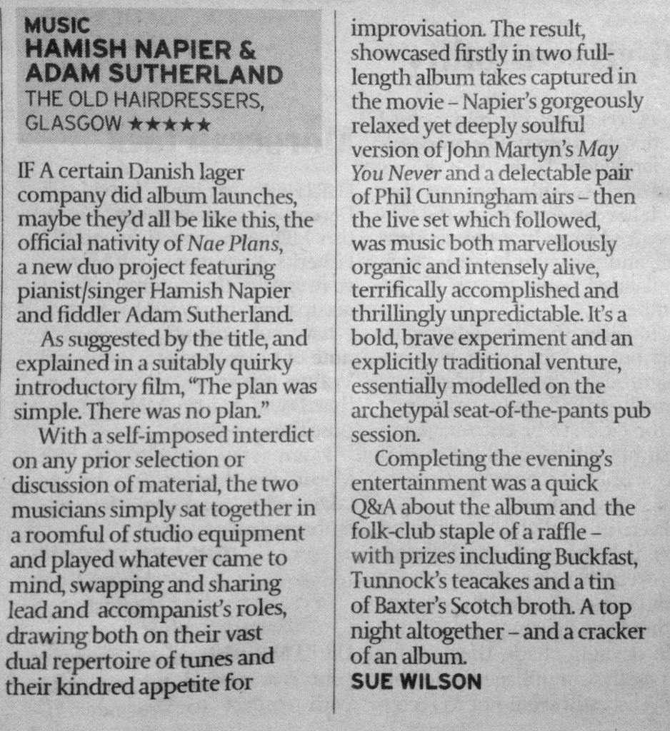 'Nae Plans' 5-Star Review by Sue wilson, The Scotsman.